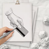 Hand drawn hand holding up credit card on book Royalty Free Stock Photography