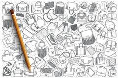Hand drawn handbag set background. Hand drawn handbag vector doodle set background Royalty Free Stock Photo