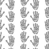 Hand drawn handprints seamless pattern Royalty Free Stock Photos