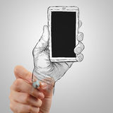 Hand drawn hands with mobile phone Stock Image