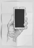 Hand drawn hands with mobile phone Royalty Free Stock Photos