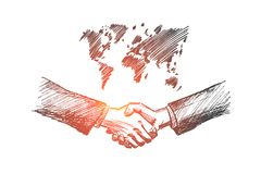 Hand drawn handshake with conceptual map. Vector hand drawn international partnership sketch. Handshaking of two businessmen on world map background meaning Stock Photography