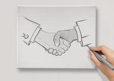 Hand drawn handshake sign as partnership business Stock Photos