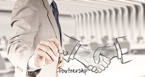 Hand drawn handshake sign as partnership Royalty Free Stock Image