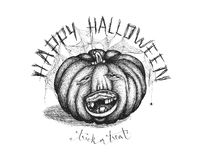 Hand drawn handwriting lettering happy halloween spooky smiling toothless pumpkin stock illustration