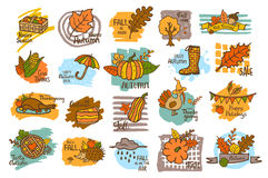 Hand drawn handwritten autumn fall thanksgiving cute cartoon labels greeting cards. Badges backgrounds on marker brush strokes textures Royalty Free Stock Image