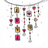 Hand Drawn Hangings for Valentine`s Day. Royalty Free Stock Photography