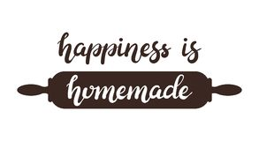 Hand drawn Happiness is homemade typography lettering poster with rolling pin on background stock image