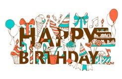 Hand-drawn Happy Birthday card. Stock Photos