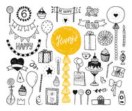 Hand drawn Happy birthday collection Royalty Free Stock Photo
