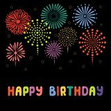 Cute birthday card, banner. Hand drawn Happy Birthday greeting card, banner template with typography, fireworks. Isolated objects on black background. Vector Stock Photos