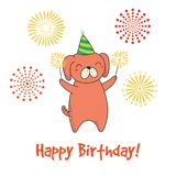 Cute birthday card, banner. Hand drawn Happy Birthday greeting card with cute funny cartoon dog with sparklers, text. Isolated objects on a background with Stock Photography
