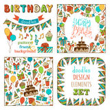 Hand-drawn Happy Birthday Set. Seamless pattern, garland frame, square background, hand-drawn lettering and various design elements on white background Stock Photo