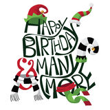 Hand drawn happy birthday with silly hats and scarves Royalty Free Stock Photos