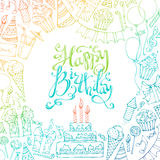 Hand-drawn Happy Birthday square background. Colourful doodles gift boxes, garlands and balloons, music notes, party blowouts, cakes and candies, birthday pie Royalty Free Stock Image