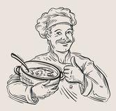 Hand drawn happy chef with pan in hand. vector Stock Images