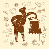 Hand drawn happy chief with doodle meal Royalty Free Stock Images