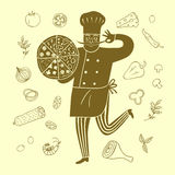 Hand drawn happy chief with doodle meal Royalty Free Stock Photo