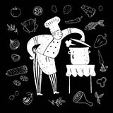 Hand drawn happy chief with doodle meal Stock Images