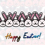 Hand drawn happy easter card vector graphic with easter bunnies Royalty Free Stock Image