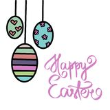 Hand drawn great Happy easter day sign. Easter text. Easter eggs. Black color. Cute happy easter vector simple vector illustration