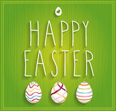 Hand drawn Happy Easter poster on green background Royalty Free Stock Photography