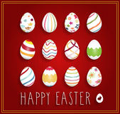Hand drawn Happy Easter poster on red background with eggs Stock Images