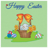Hand drawn Happy easter vector pastel card of basket with eggs, flower and bow on meadow Royalty Free Stock Photo