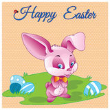 Hand drawn Happy easter vector pastel card with mysterious rabbit gentleman with bow and eggs meadow Royalty Free Stock Image