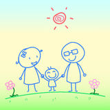 Hand drawn Happy family Stock Photography