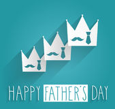 Hand Drawn Happy Fathers Day. Tie and mustache in white vrown on blue background Royalty Free Stock Image