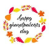 Hand drawn HAPPY GRANDPARENTS DAY stock illustration