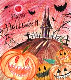 Hand drawn happy halloween background with scary pumpkins stock illustration