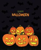 Hand drawn happy Halloween pumpkins Illustration. With `Happy Halloween` text on dark background with bats flying around Stock Photo