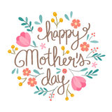 Hand drawn Happy Mother`s Day floral illustration. Suitable for social media, print, decoration, invitation cards and other Mother`s Day related activities Stock Photos