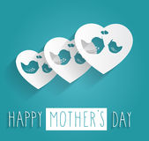 Hand drawn Happy Mothers Day on blue background Royalty Free Stock Image