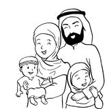 Hand drawn Happy Muslim Family-Vector Cartoon Illustration. Hand drawn of Happy Muslim family. Father, mother, son and daughter together. Vector illustration Royalty Free Stock Photography