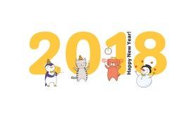 Cute New Year card, banner vector illustration