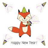 Cute New Year card, banner vector illustration