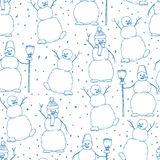 Hand drawn happy snowmans vector seamles cartoon illustration Royalty Free Stock Images
