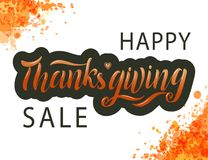 Hand drawn Happy Thanksgiving sale lettering typography poster. stock illustration