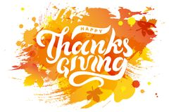 Hand drawn Happy Thanksgiving text on watercolor imitation background. Lettering for Thanksgiving logo/ badge/postcard/poster/banner/web. Vector illustration Royalty Free Stock Photos