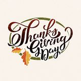 Hand drawn Happy Thanksgiving typography poster. Celebration quotation for card, event icon logo or badge. Vector vintage style autumn calligraphy. Lettering Royalty Free Illustration