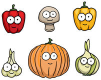 Hand drawn happy vegetable characters Stock Image