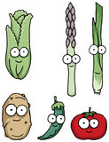 Hand drawn happy vegetable characters Stock Images