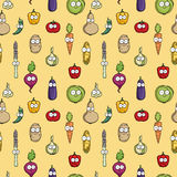 Hand drawn happy vegetable characters Royalty Free Stock Images