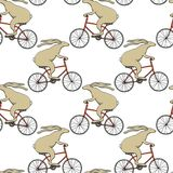 Hand drawn hares pattern. Vector seamless pattern with hand drawn hares riding bikes. Beautiful  animal design elements. Perfect for prints and patterns Royalty Free Stock Photography