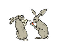 Hand drawn hares Royalty Free Stock Photography