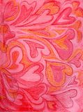 Hand-drawn hartachtergrond Stock Afbeelding