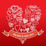 Hand-drawn harten met lint Stock Afbeelding